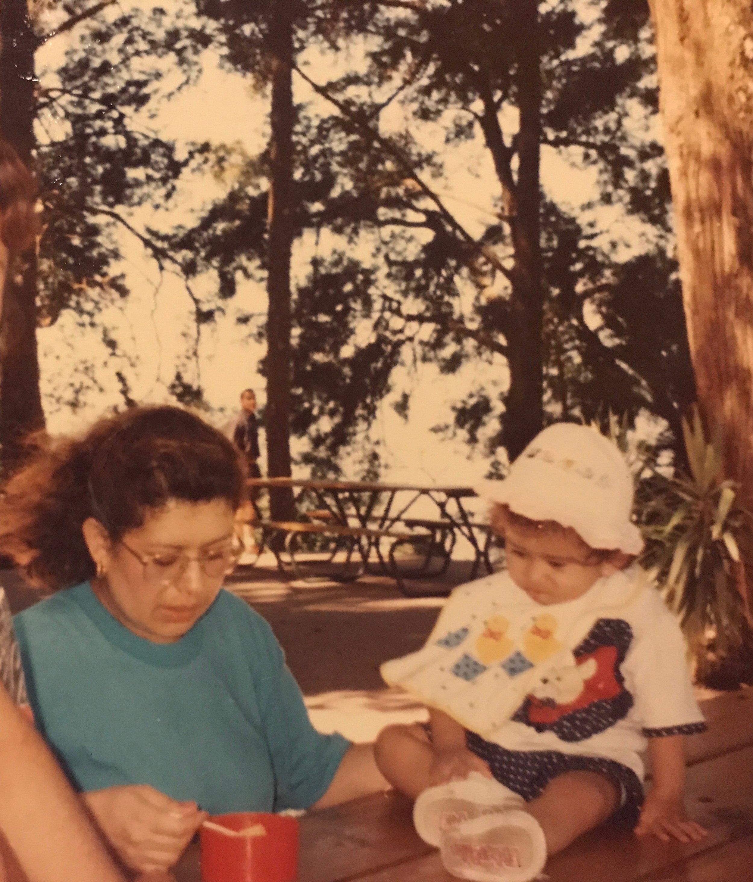 My mother and I at El Teleférico de San Jacinto in San Salvador, El Salvador (1996).