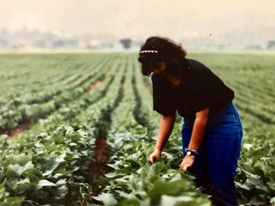 My mami working the cultivos in Honduras, 1989.