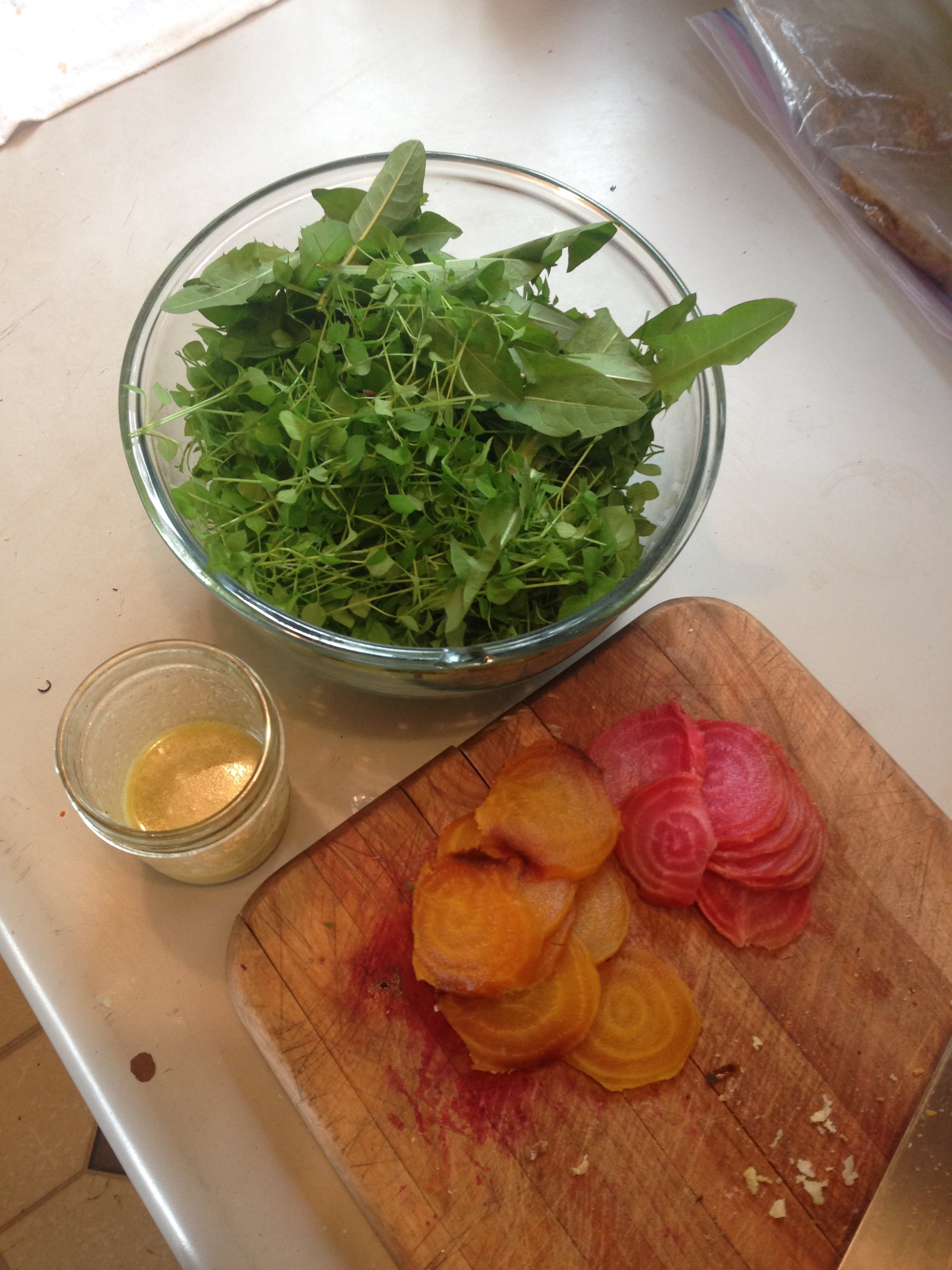 golden and chioggia beets, roasted then sliced, ready to go on a spring salad.  Above image from getty images.