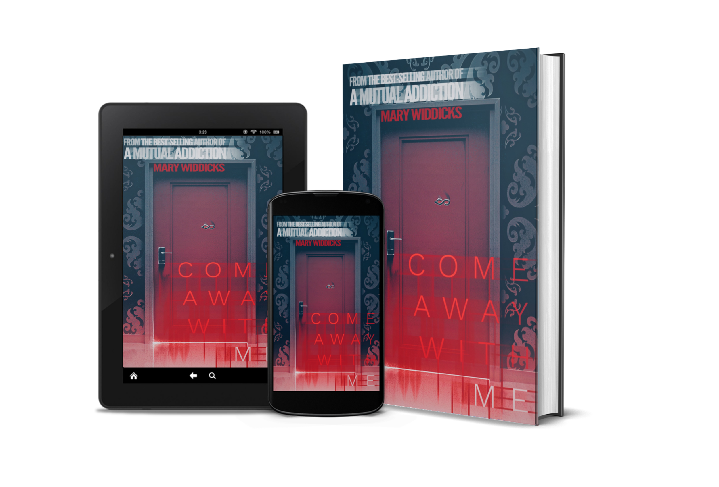 Come Away With Me    Available on Amazon and Kindle Unlimited!   In the vein of The Twilight Zone and Black Mirror, Come Away With Me is an eerie tale of eternal damnation, the absence of free will, and the all-consuming power of Norah Jones.     The room is dark.    Not the kind of dark which is simply an absence of light, but the kind of dark which has a physical presence. It's more alive than I am, wrapping its cold arms around me and holding me captive. Formless and still, not even my breath moves in the room. The only visible light seeps under a door at the far end of the room.    Silent at first, my feet touch the ground for the first time as I approach the sliver of gold. Rough soles scrape against the hard surface and the impact of each step travels up my body, waking it as if from a deep sleep. Only once I reach the door does my hand materialize in the dark. Shimmery and ethereal like a mirage. With a push the door swings wide and the fierce light blinds me again…