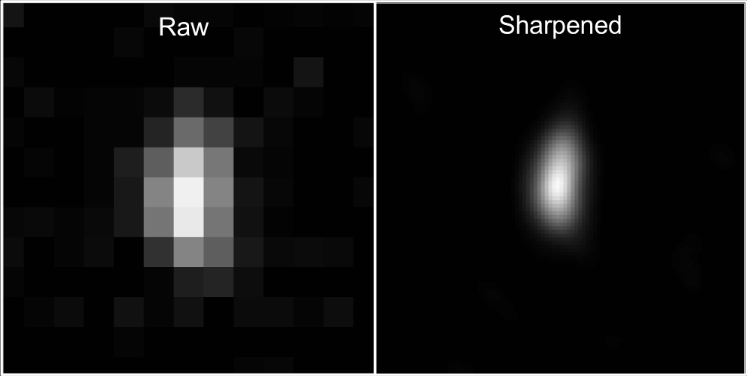 Even though the best images received of Ultima Thule are low resolution, the images received just two days prior to flyby are pixelated blobs. Credit: NASA/Johns Hopkins University Applied Physics Laboratory/Southwest Research Institute