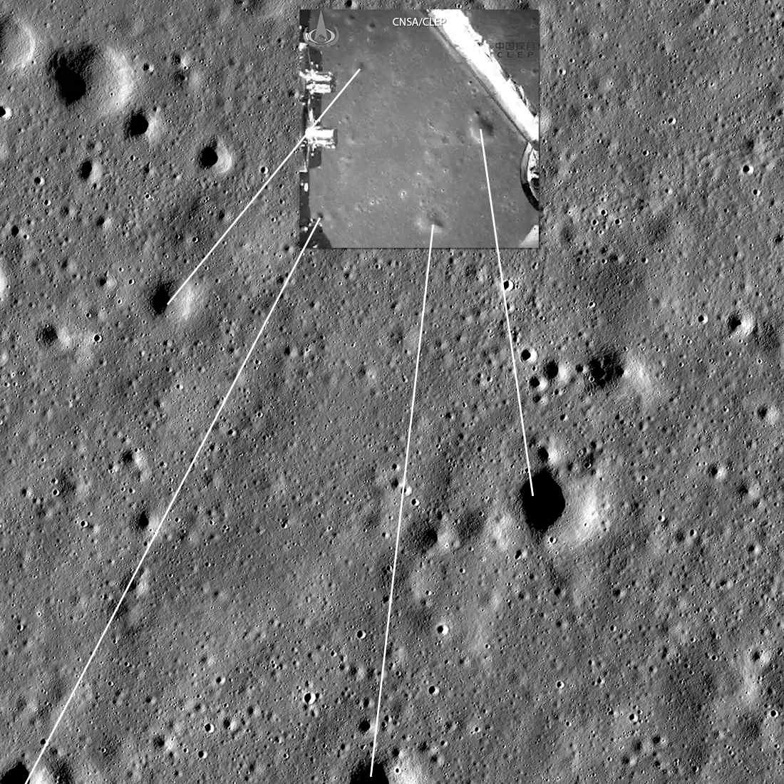 Mapping identifiable craters between an image captured during Chang'e 4's descent (small upper image; CNSA/CLEP) and an image from the NASA Lunar Reconnaissance Orbiter. Image width 2700 meters. LRO LROC NAC M134022629LR. Credit: NASA/GSFC/Arizona State University