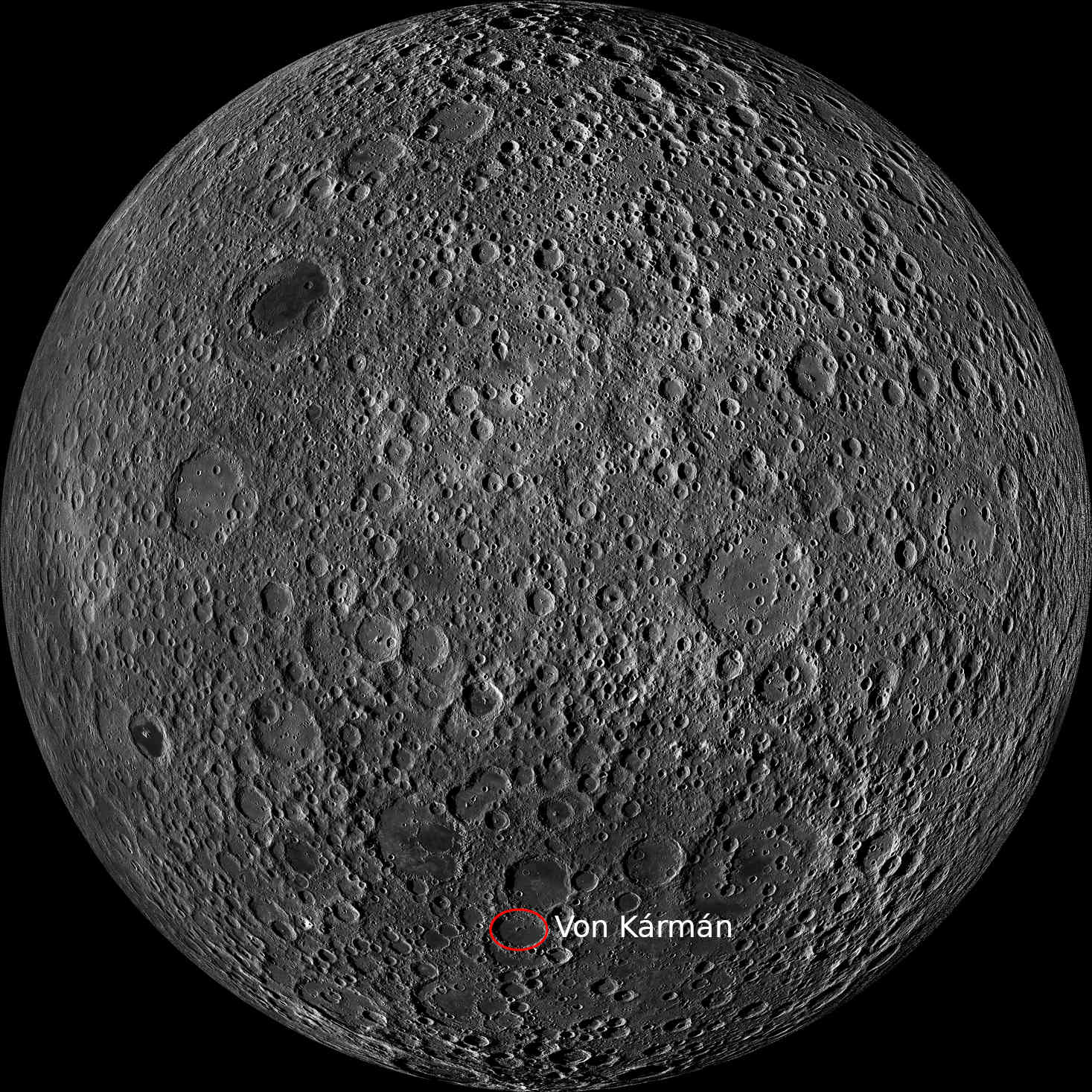 Far side of the Moon. The CNSA Chang'e 4 lander descended into Von Kármán crater in January 2019. Credit: NASA/GSFC/Arizona State University
