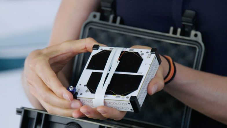The Swarm SpaceBEE is a 0.25U CubeSat only measuring 10 by 10 by 2.8 cm. Swarm plans to build and operate a 150 SpaceBEE constellation that will provide global IoT coverage. Credit: Swarm Technologies