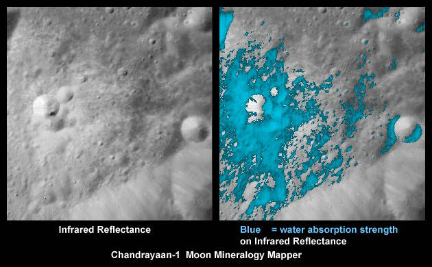The side of this young crater on the far-side of the Moon has a high concentration of water-rich minerals (blue in right image). Credit: Credits: ISRO/NASA/JPL-Caltech/USGS/Brown Univ.