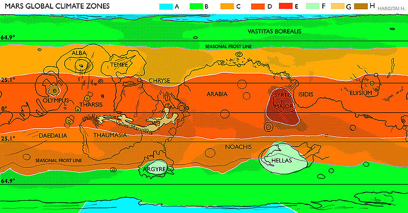 Map showing the Mars global climate zones. It is based on temperature and is modified by topography, albedo, and the actual solar radiation.  A =Glacial (permanent ice cap); B=Polar (covered by frost during the winter which sublimates during the summer);  C =North (mild) Transitional (Ca) and C South (extreme) Transitional (Cb);  D = Tropical;  E = Low albedo tropical;  F = Subpolar Lowland (Basins);  G =Tropical Lowland (Chasmata);  H =Subtropical Highland (Mountain). Credit: Hargitai et al. 2010.