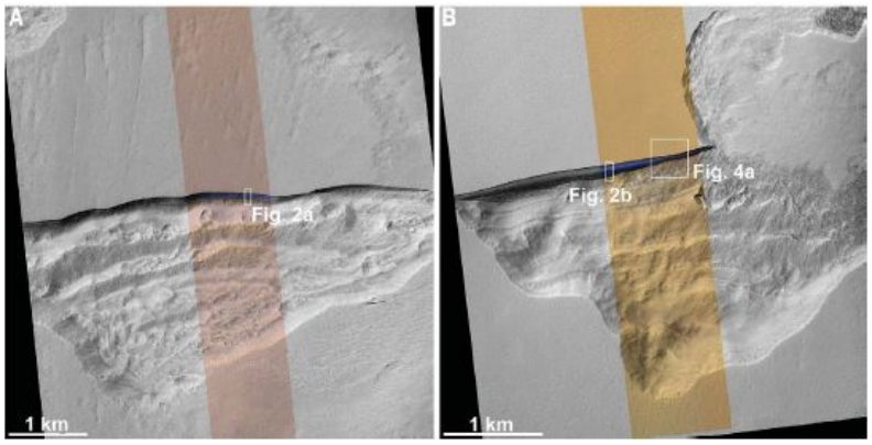 Orbiter images of scarps on Mars which exposed ice sheets. Captured by NASA's MRO HiRISE instrument. Credit: Dundas et al. 2018.