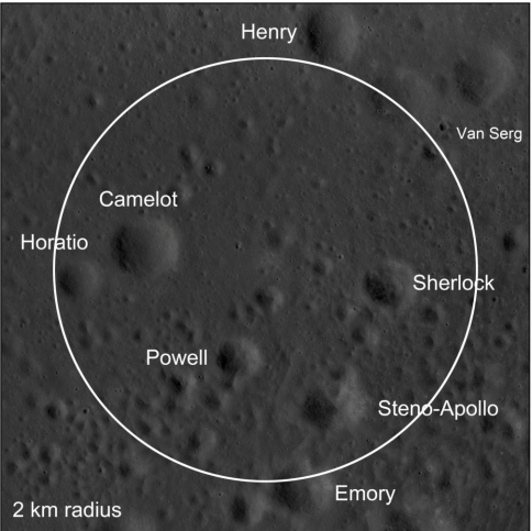 An example of a 2 km radius exclusion zone at the Apollo 17 landing site. Credit: NASA