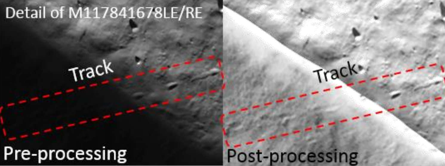 Image from the LRO NAC instrument showing a boulder track in a permanently shadowed region (PSR). The left image shows the raw image, with the right image being stretched and filtered to bring out the details within the shadowed region. Credit: Sargeant et al., 2019, Figure 1.