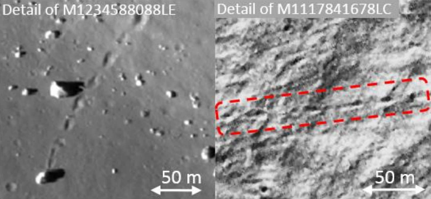 Boulder tracks on the Moon. The left image is in Aristarchus (highland slope) and the right image is near Schrödinger (PSR). Regolith bearing strength can be inferred from the shape of boulder tracks. Credit: Sargeant et al., 2019, Figure 2.