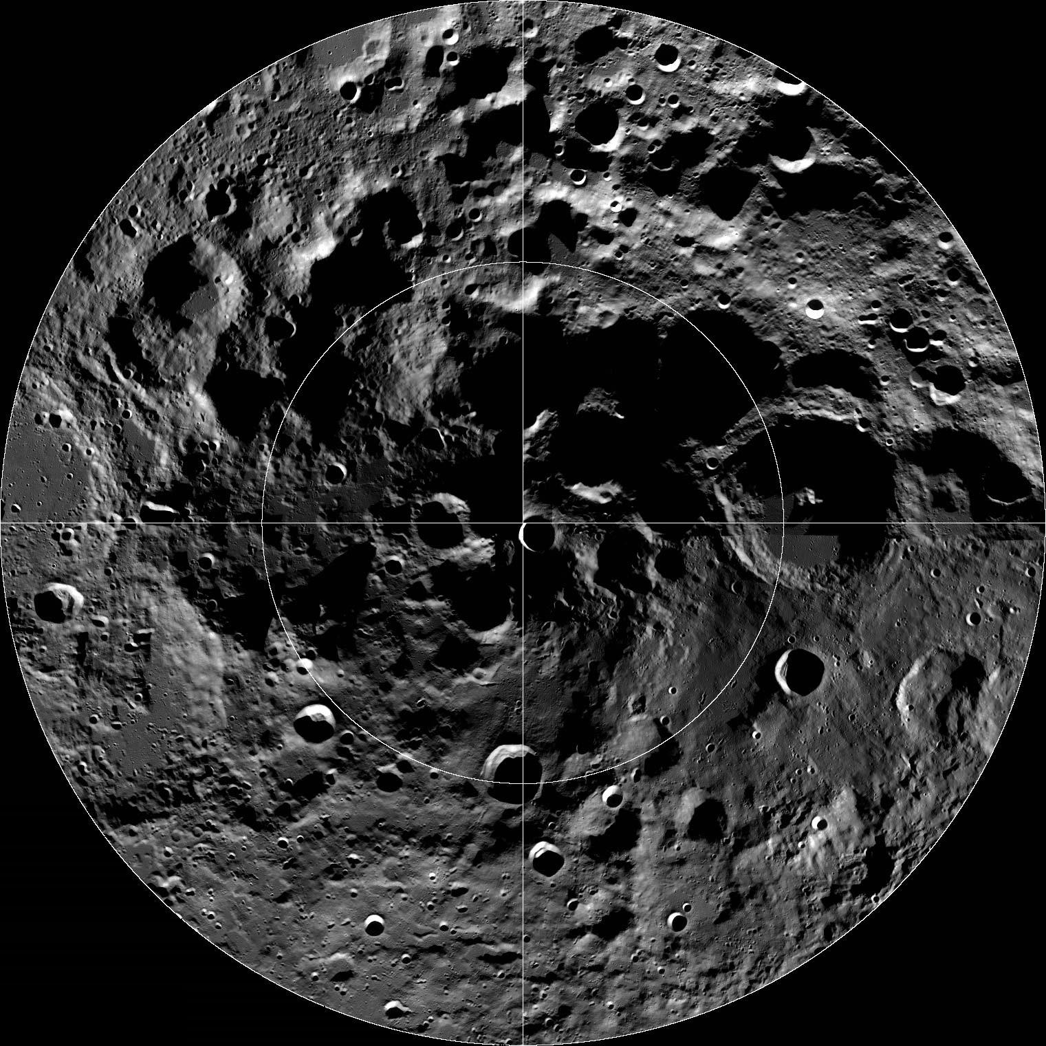 LROC Wide Angle Camera (WAC) mosaic of the lunar South Pole region; about 600 km width. Credit: NASA/GSFC/Arizona State University.