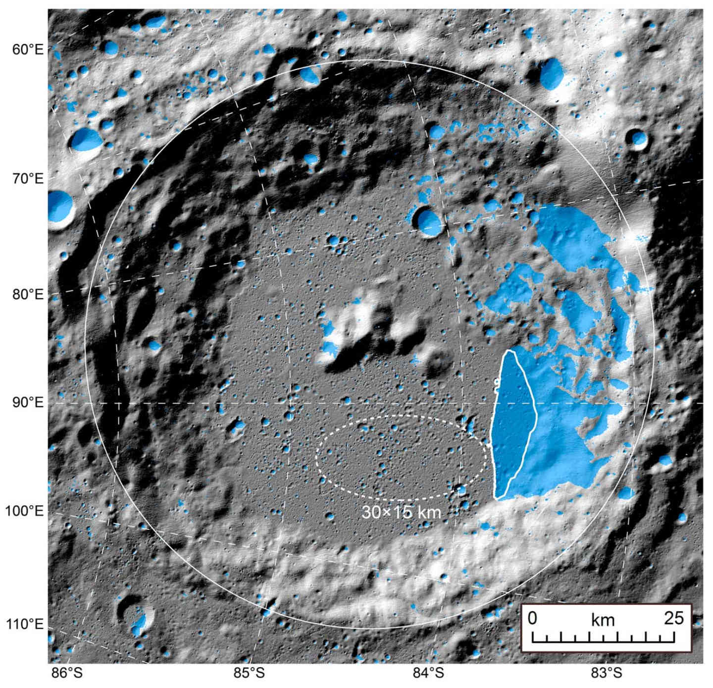 Closeup of Amundsen crater. The blue areas are permanently shadowed regions, with the area enclosed in bold white being a 132 km² flat area. The dashed ellipse represents a 30 x 15 km landing zone. Credit: Qiao et al., 2019, Figure 11.
