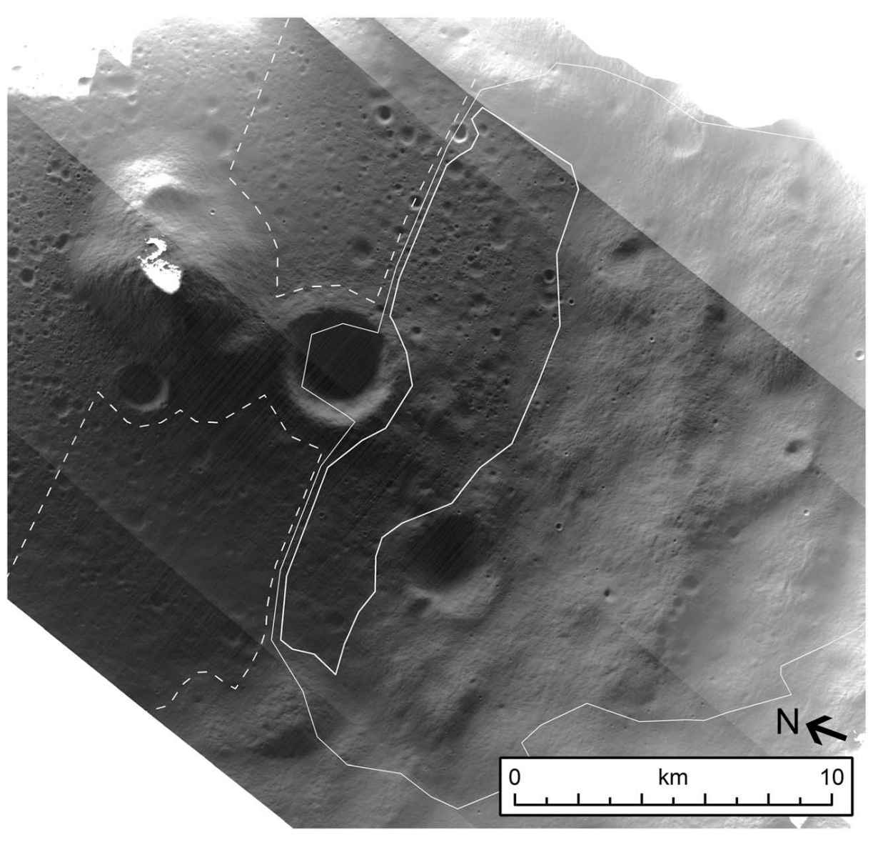 Image of the surface of a permanently shadowed region (PSR). No boulders over the size of 20 m were identified within this PSR, which might interfere with LOLA measurements. The LROC NAC captured this long exposure image using sunlight reflected from surrounding regions to illuminate the shadowed areas (bold white area). Credit: Qiao et al., 2019, Figure 9.