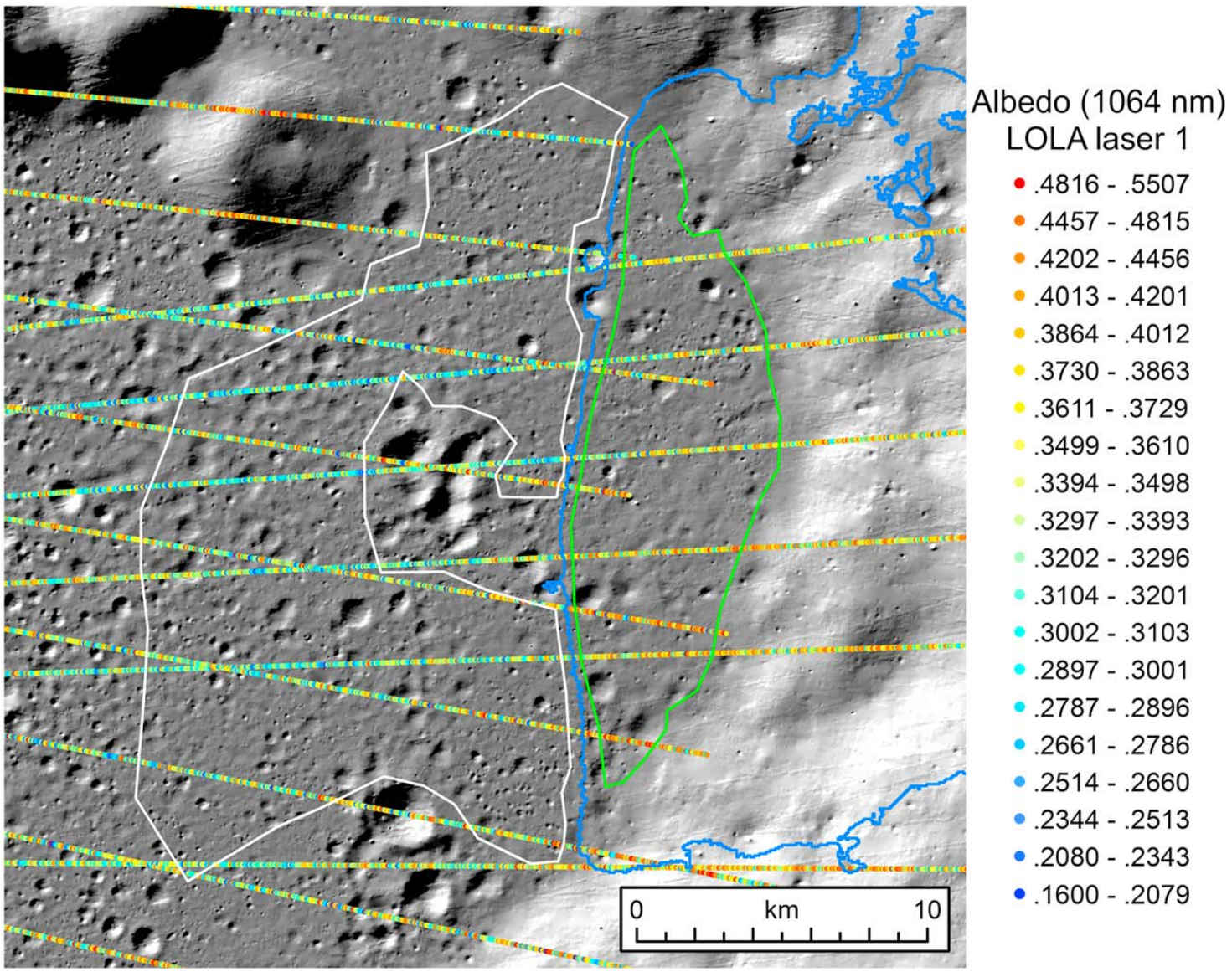 Measurements from LOLA combine to show changes in terrain reflectance. The LOLA tracks increase in reflectance as they pass over the flat PSR (green polygon), and decrease reflectance over the adjacent non-PSR (white polygon). Credit: Qiao et al., 2019, Figure 2.