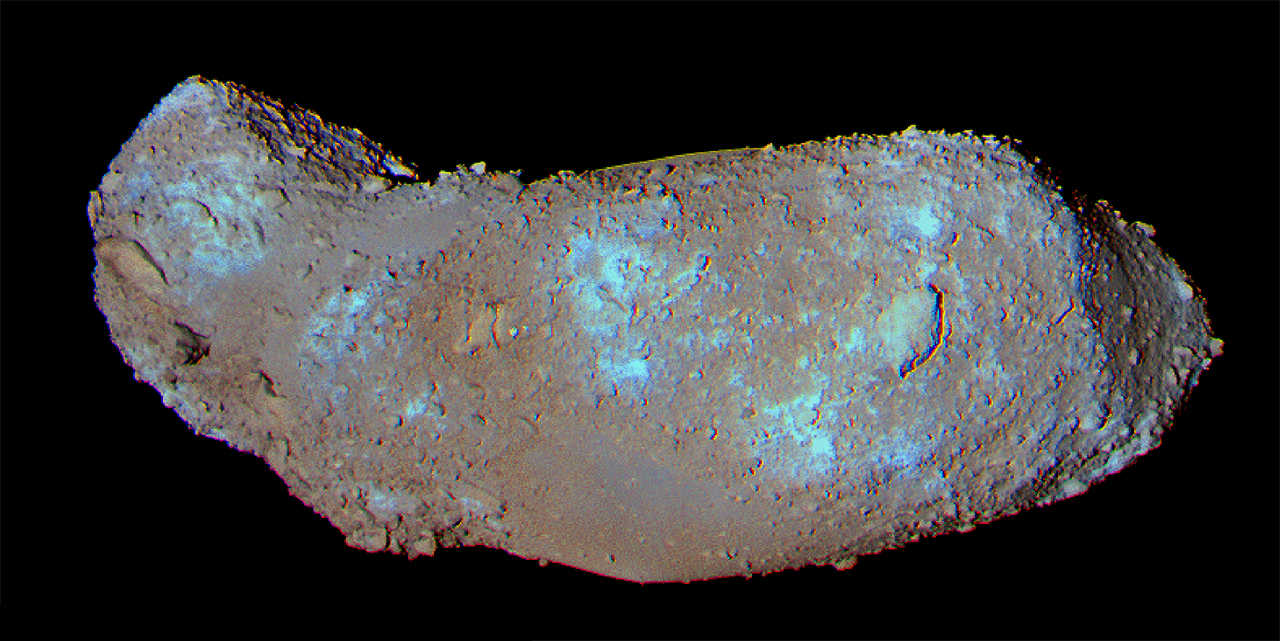 The JAXA Hayabusa sample-return mission brought back material from the S-type asteroid Itokawa. The samples were collected from the smooth patch in the middle of the two lobes. Scientists from ASU found direct evidence of high concentrations of water within the samples. Credit: JAXA.