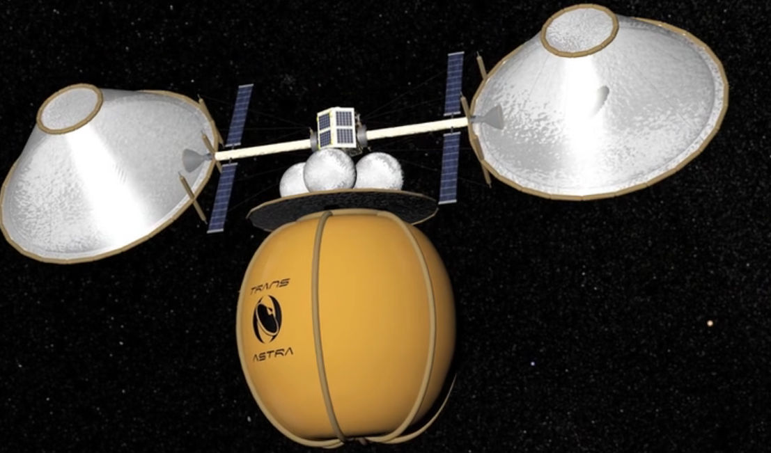 The Honey Bee system in its fully expanded form, shown after encapsulating an asteroid in its containment bag (yellow bag at bottom). Credit: TransAstra Corporation.