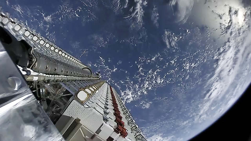 View of the first 60 production design Starlink satellites in space, after being launched on a Falcon 9. In addition to being the heaviest launch SpaceX has ever done, this marks the beginning of their 12,000 satellite constellation that will soon provide global internet. Credit: SpaceX.