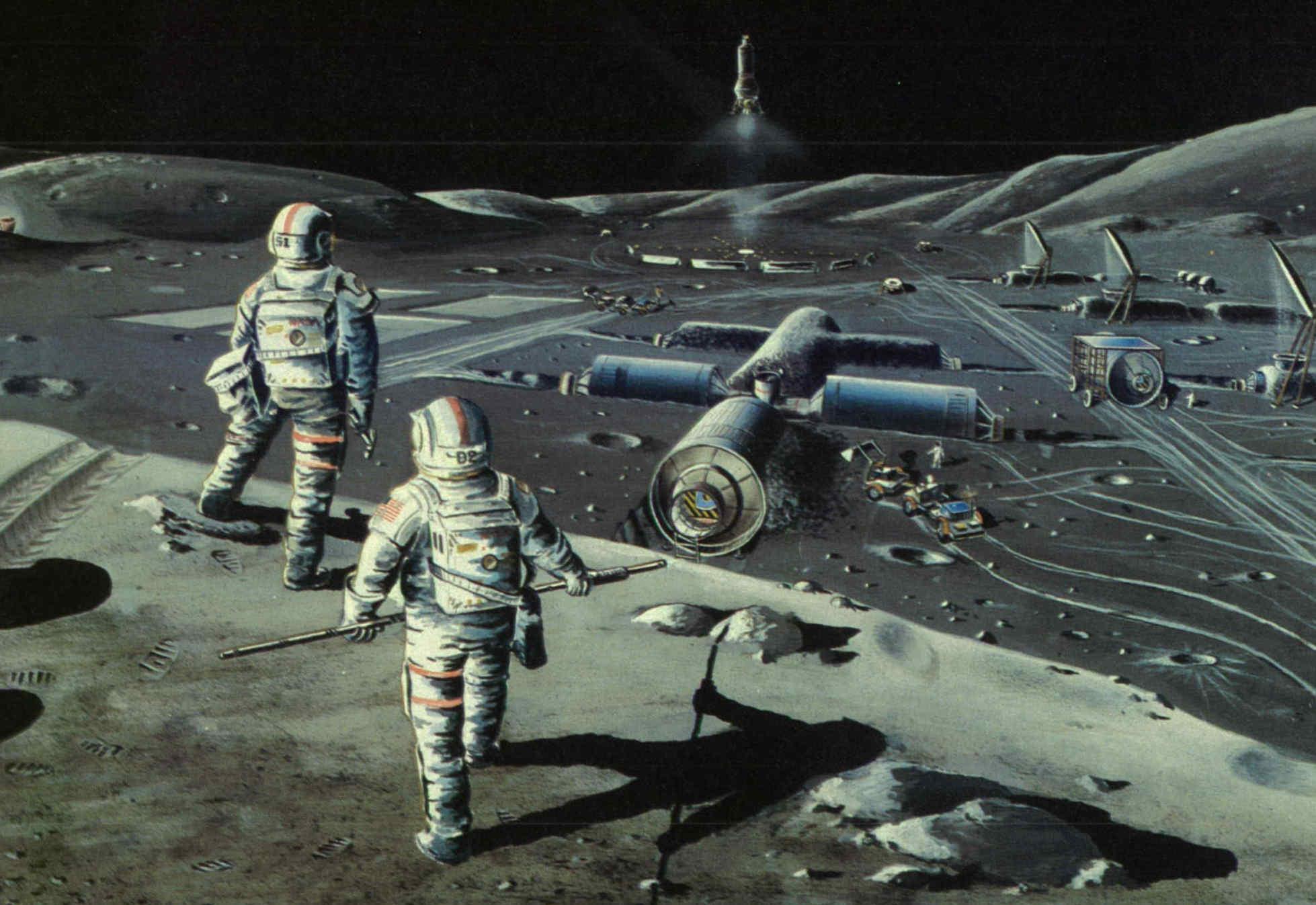 Illustrated lunar colony from NASA SP 509. Credit: NASA.