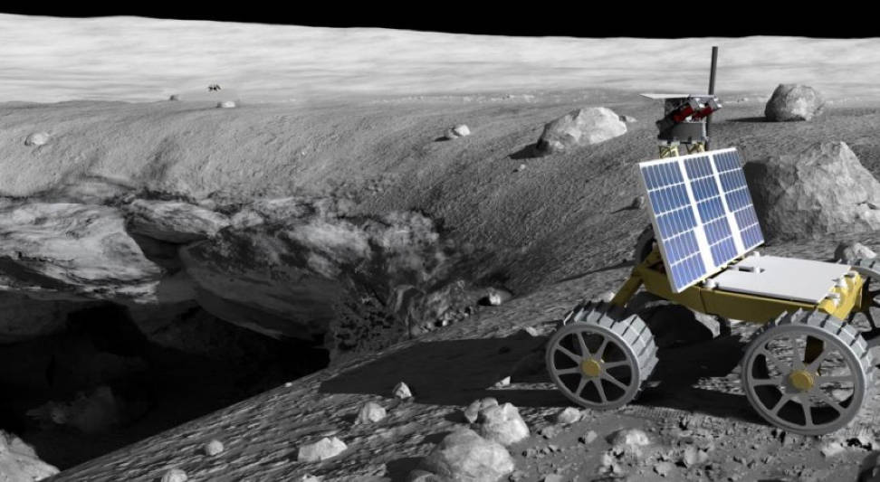 The Skylight lunar exploration mission was selected for the first ever NIAC Phase III grant of $2 million. Skylight proposes to rapidly survey and model lunar craters using small robotic rovers. Credit: William Whittaker, Carnegie Mellon University.