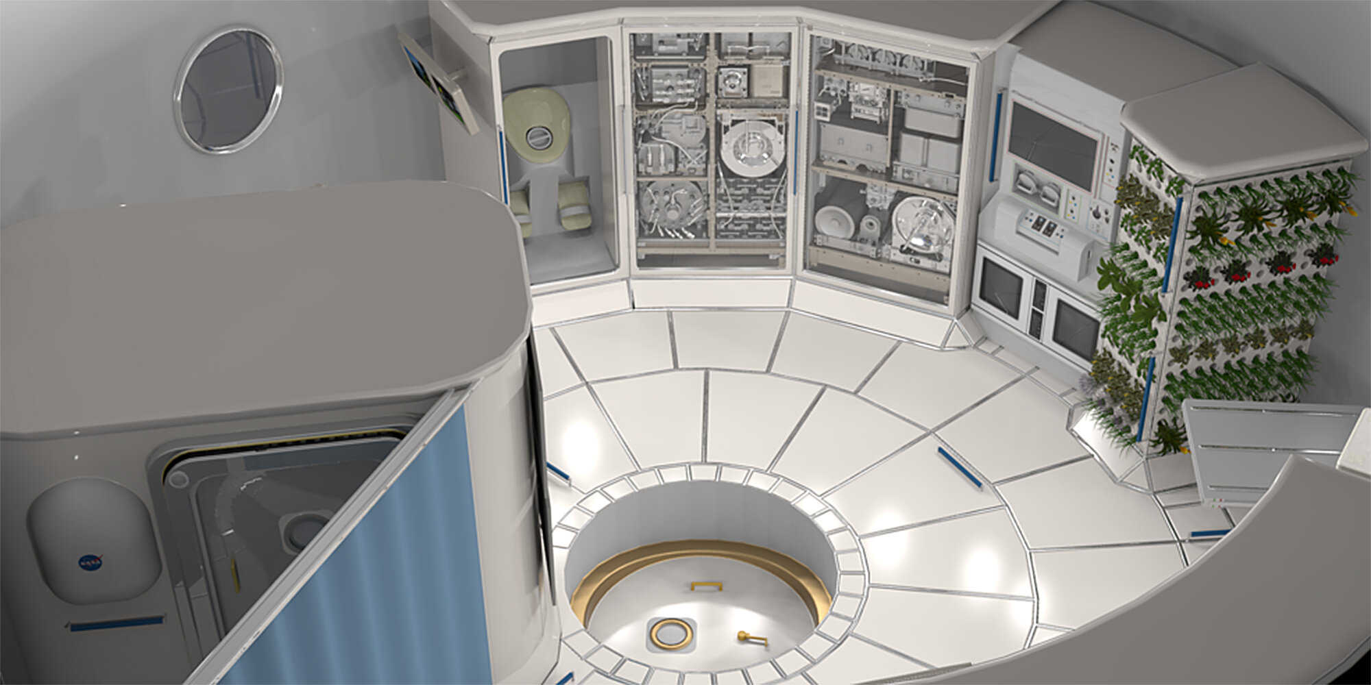 Graphic illustration of what the interior of a deep space habitat may look like. Credit: Carnegie Mellon University.