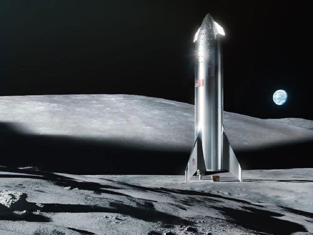 Artists illustration of the SpaceX Starship on the lunar surface. Credit: SpaceX.