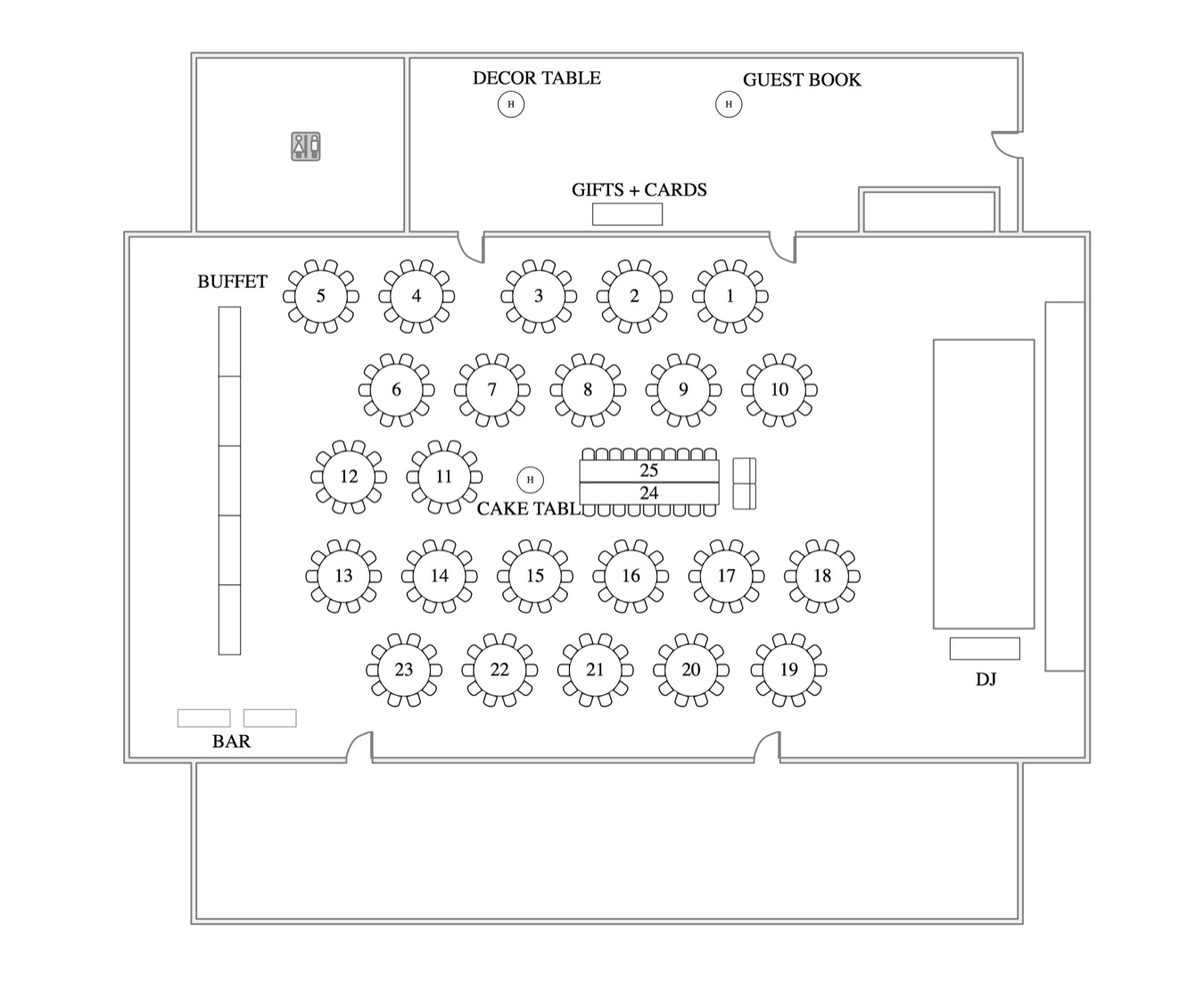 WEDDING ROOM LAYOUT FOR 250 WITH HARVEST HEAD TABLE