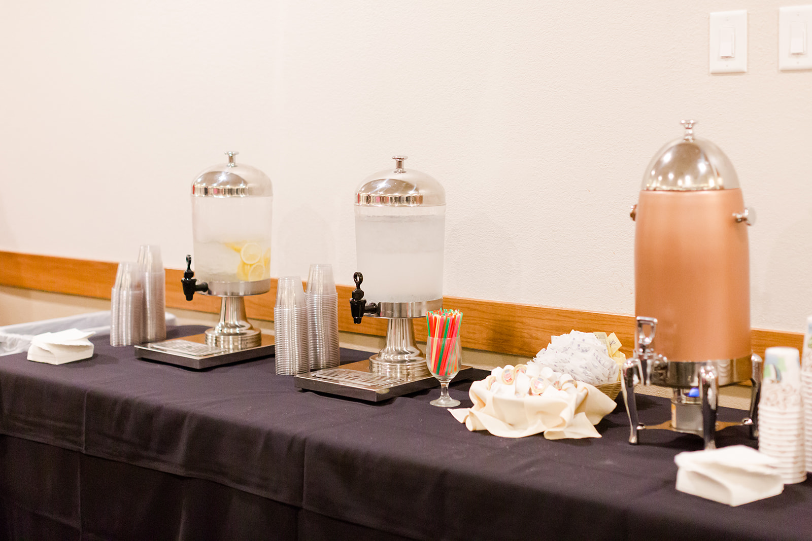 Heath and Jill Wedding | Eagan banquet hall perfect for corporate event hosting | Royal Cliff | Lindsey White Photography | water and coffee station