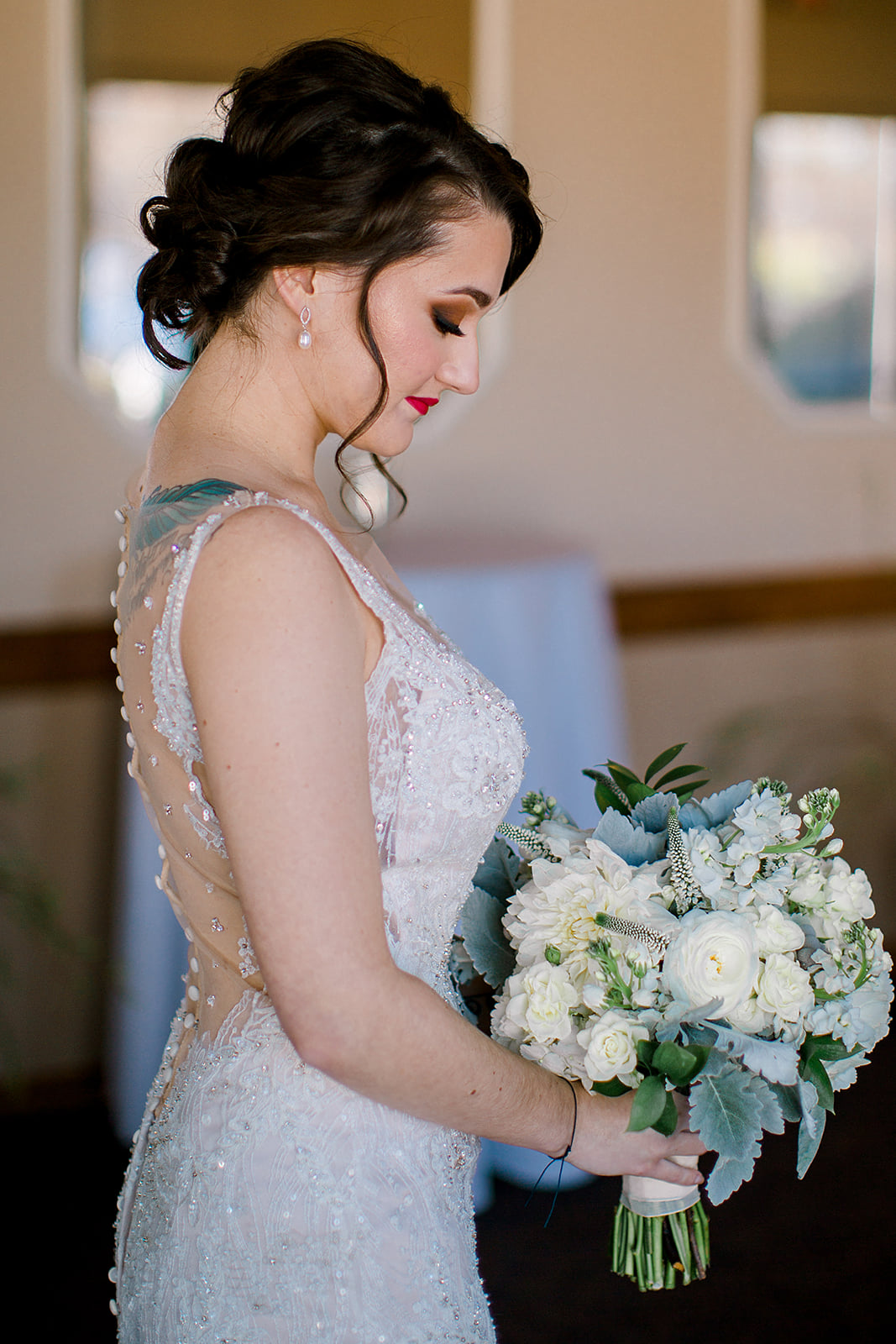 Royal Cliff Eagan Wedding Banquet Hall, dusty miller white bouquet bride with tattoos photo by Rachel Graff Photography