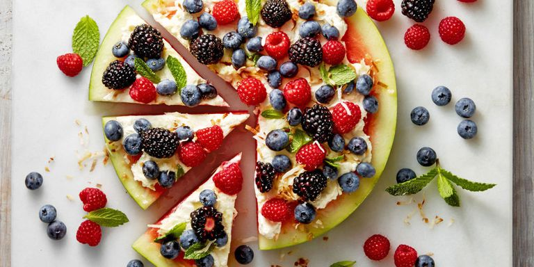 Watermelon Pizza - Not only is this a great after-school snack, but is also a fun idea for desert!This recipe from Good Housekeeping uses ricotta and cream cheese for the base, however, you can be creative and use a variety of yoghurts, nut or seed butters or fruit puree.