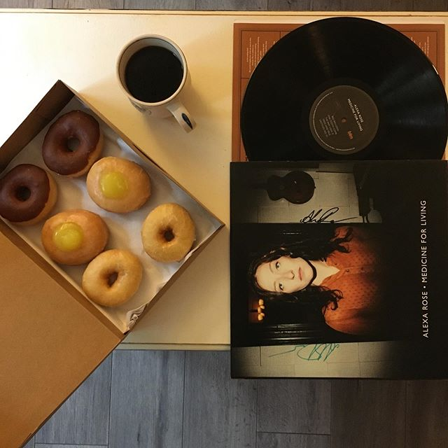 Did you ever notice that records are the same shape as a donut and the same color as coffee? I'll have these babies at @isisasheville at our #RecordReleaseParty 🙌☕️🍩🎧 Thanks #BlackMountainDonutFactory and @dynamiteroastin for fueling me on caffeine and sugar on this beautiful, chilly fall morning!