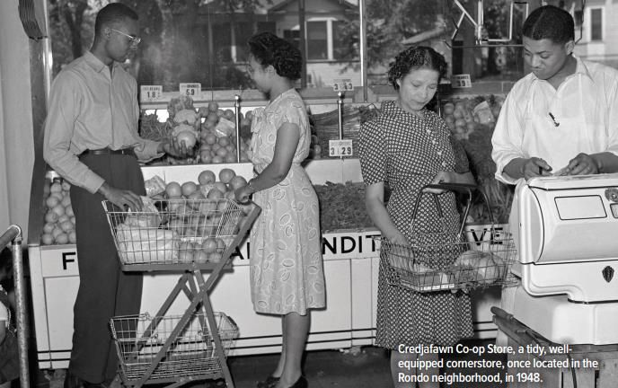 """Credjafawn Co-op Store, St. Paul, MN, 1948. Image courtesy of """" A Cooperative Legacy ."""""""