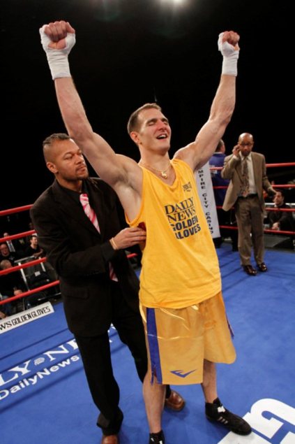 FDNY Firefighter Joe Schiraldo wins the 2012 NYC Golden Gloves in the 178 LB division, getting his gloves from GG tournament director Bryan Adams