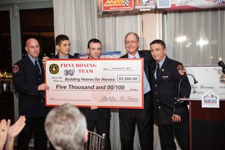 FDNY Boxing donating another $5000 to Building Homes for Heroes Feb. 27 2013 L to R: FF Kevin Barry, FF Todd Velten, FF Mike Reno, BHH'S Pres. Andy Pujol, FDNY Boxing Pres. Bobby McGuire