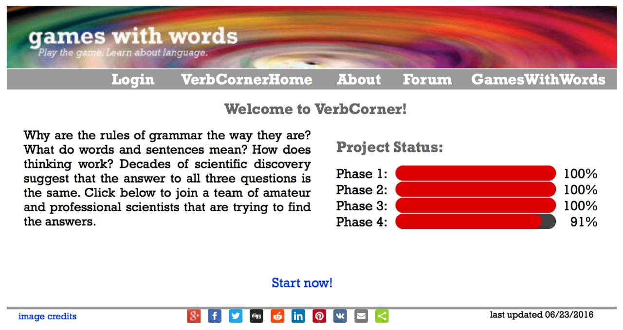 Web UI of Games with Words (BEFORE)