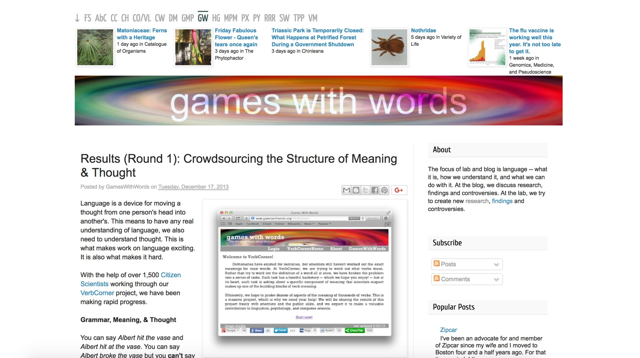 Original Games with Words blog (BEFORE)