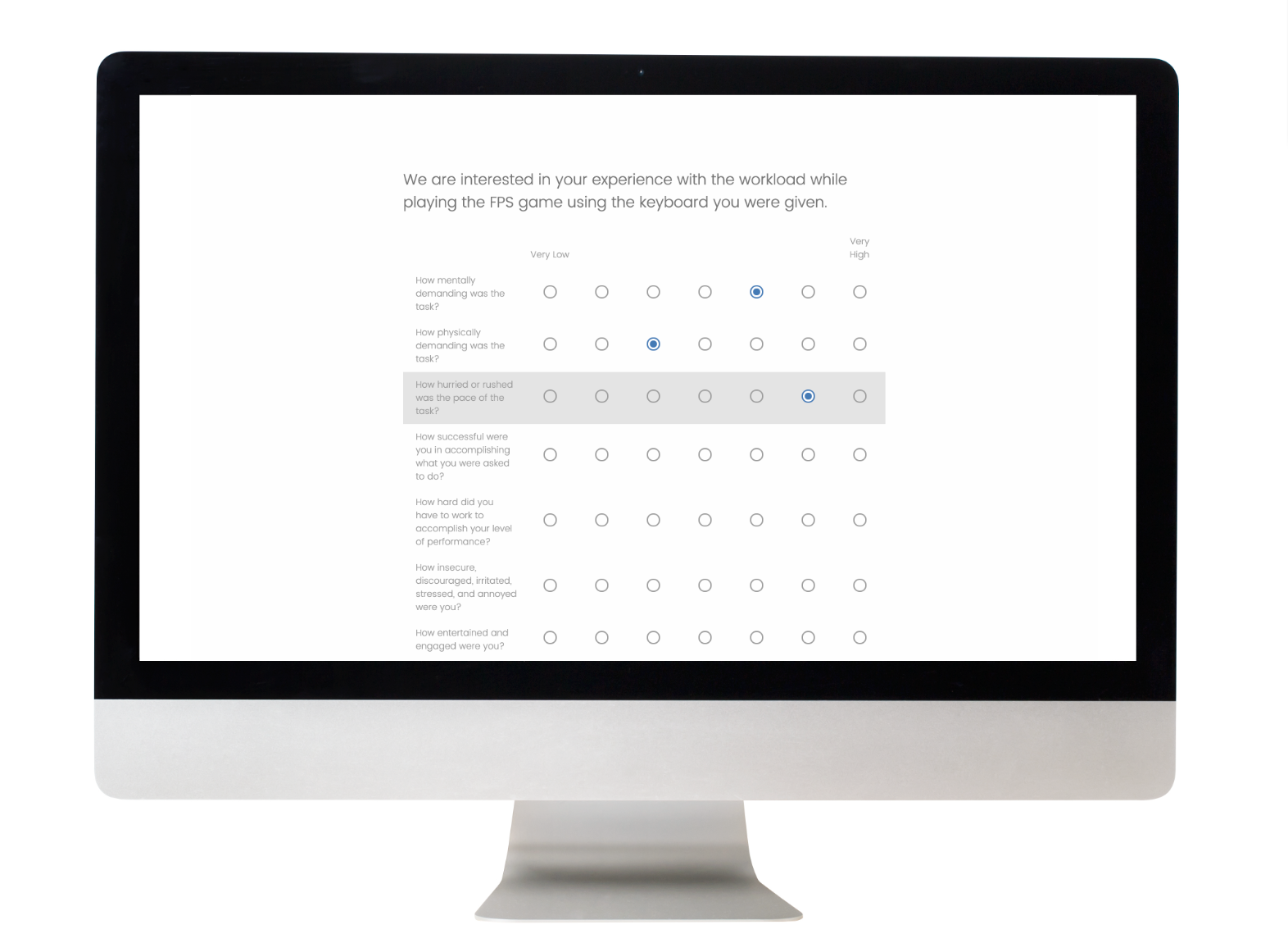 Mockup of the survey experience on the participant's end (powered by Qualtrics)