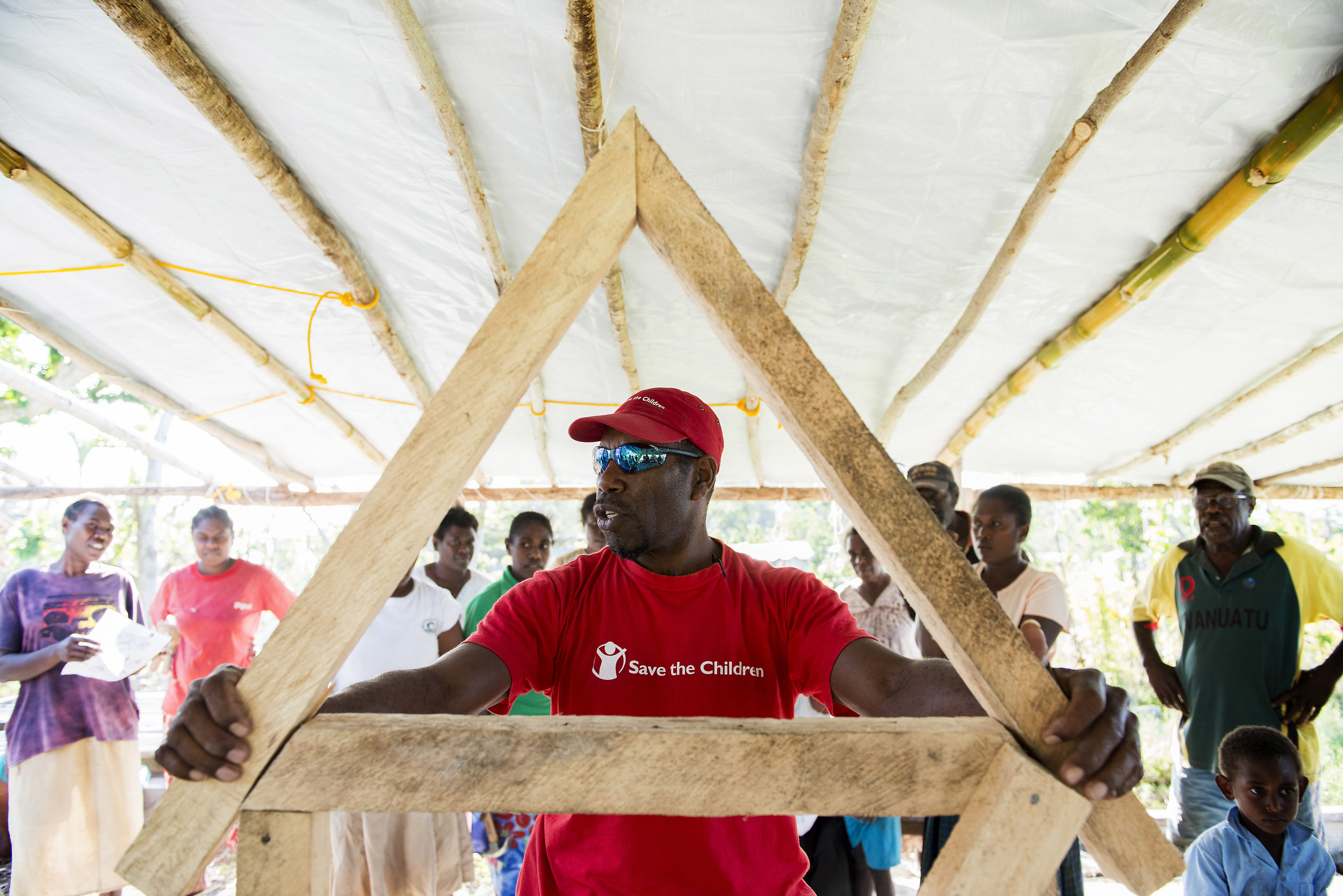 Shelter workshop, 3 months on from Cyclone Pam. Tongoa, Vanuatu. 2015.