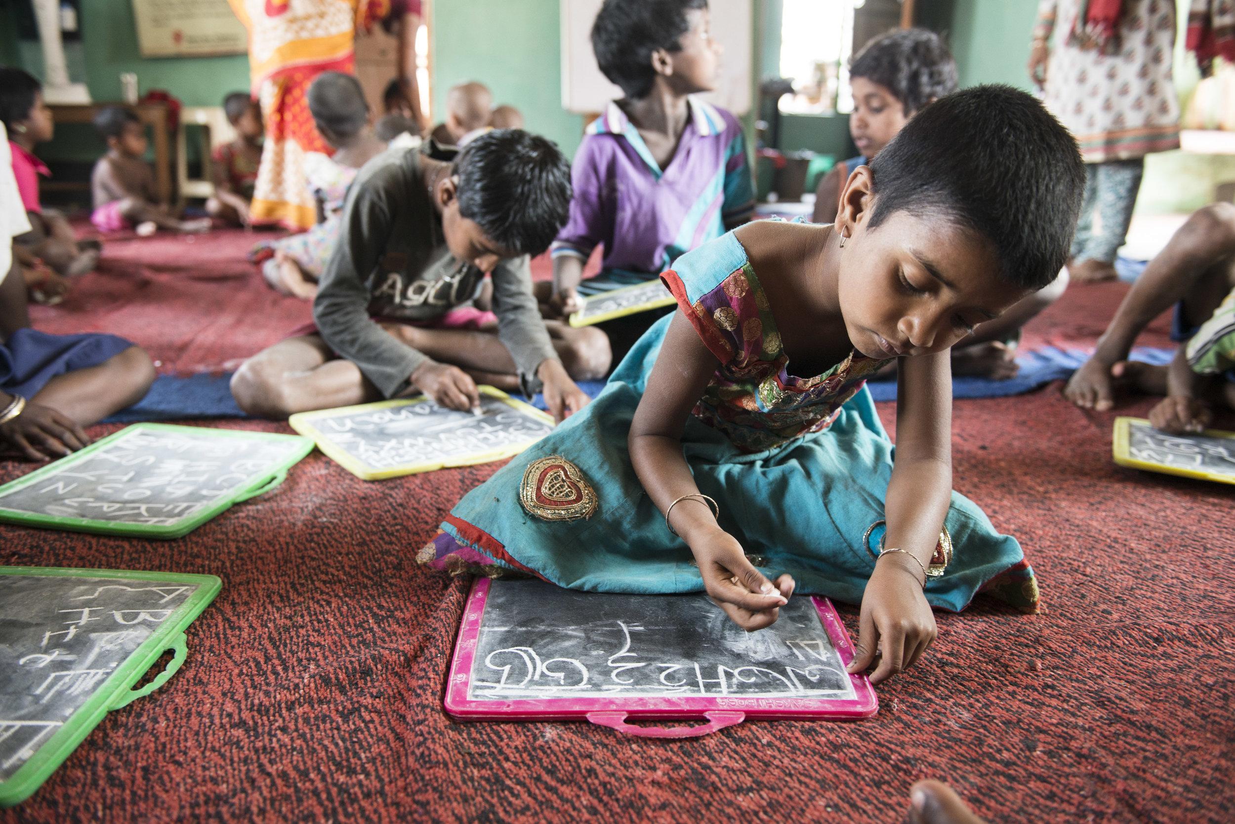 Early childhood centre, brick kilns outside Kolkata. India. 2015.