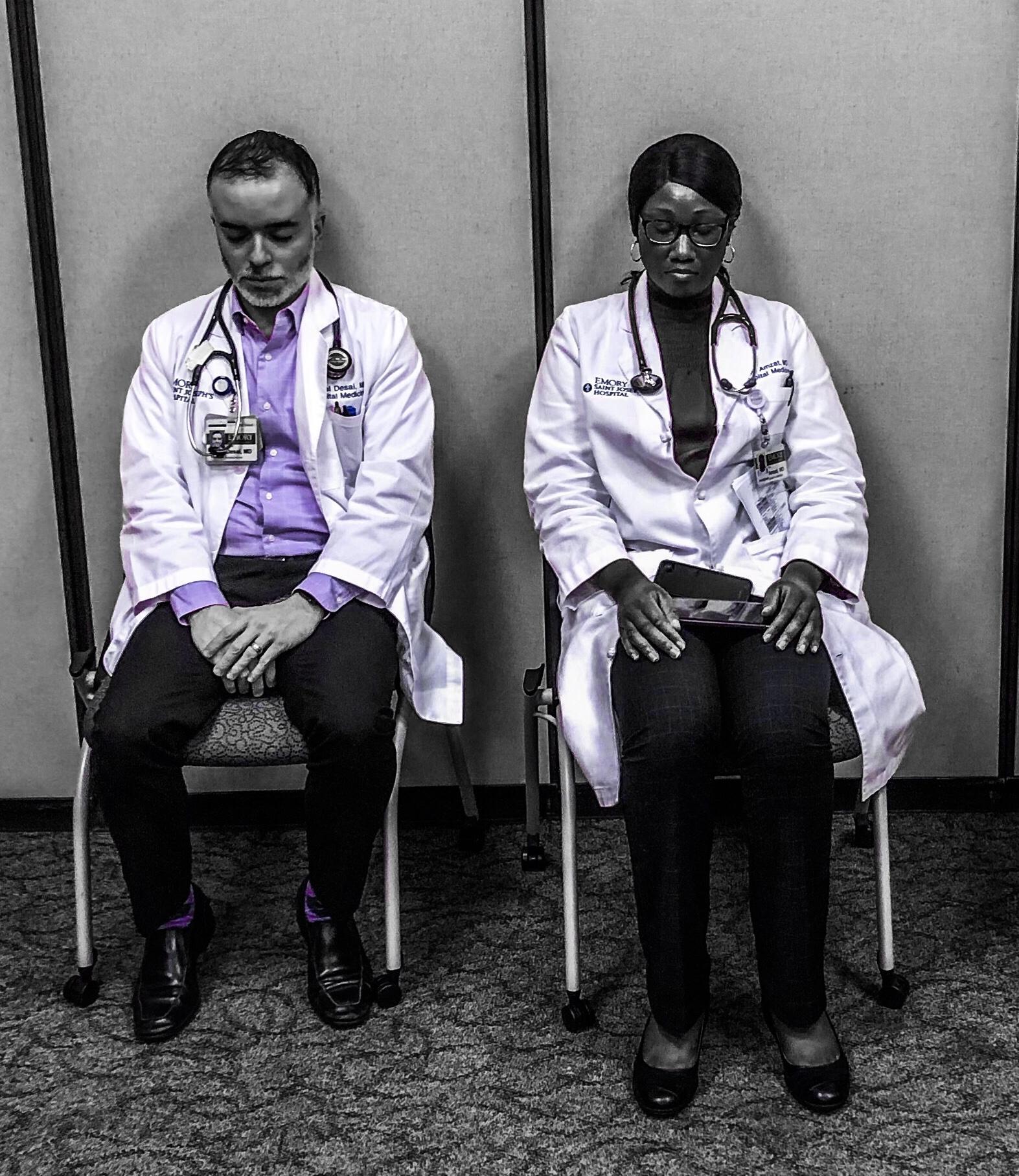 Boring pictures of Conscious Health Meditators.