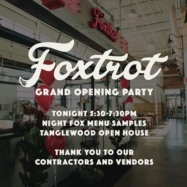 """Come help us celebrate our grand opening tonight from 5:30-7:30 in The Market at Ferguson Farm. We'll be sampling our """"Night Fox"""" menu and offering tours of our upcoming restaurant @tanglewoodmt. See you tonight! 🍻 🥂 🦊"""