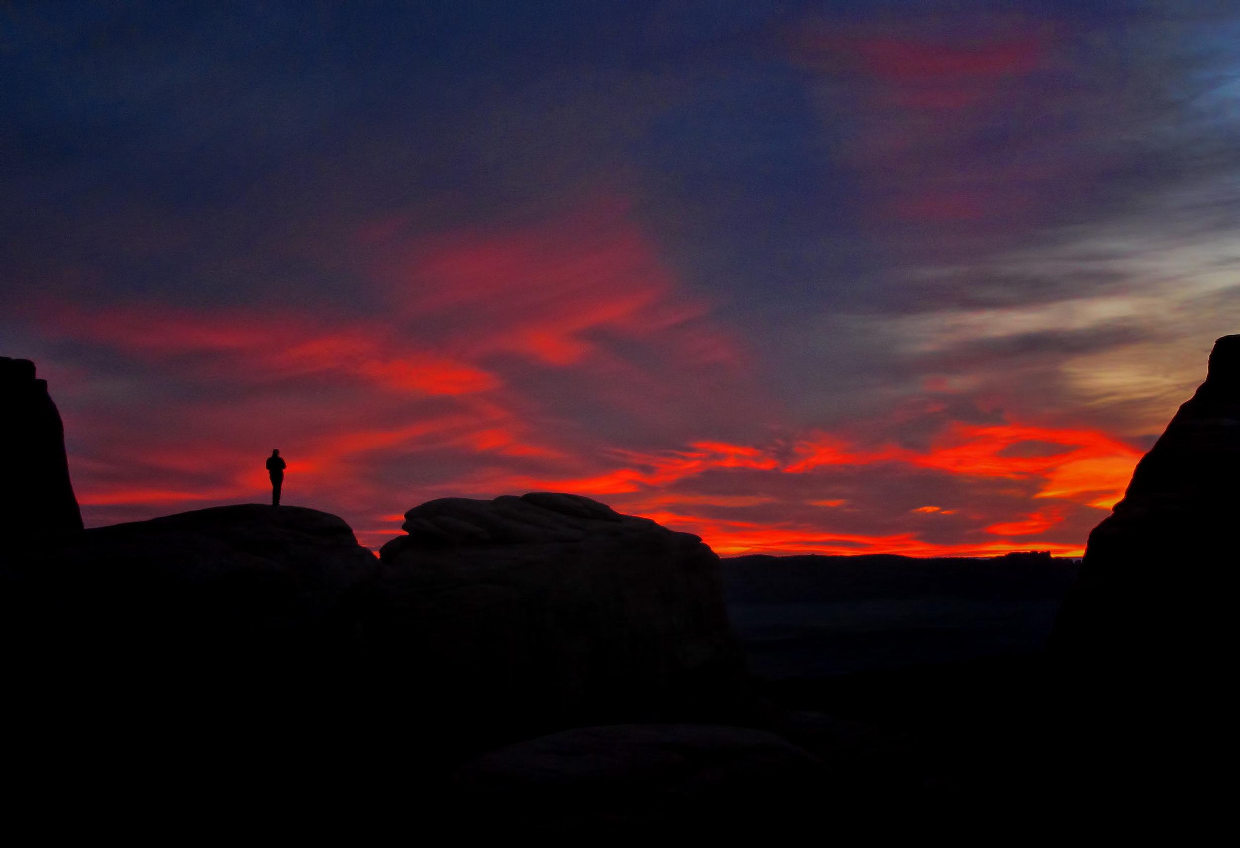 sunset arches national park utah