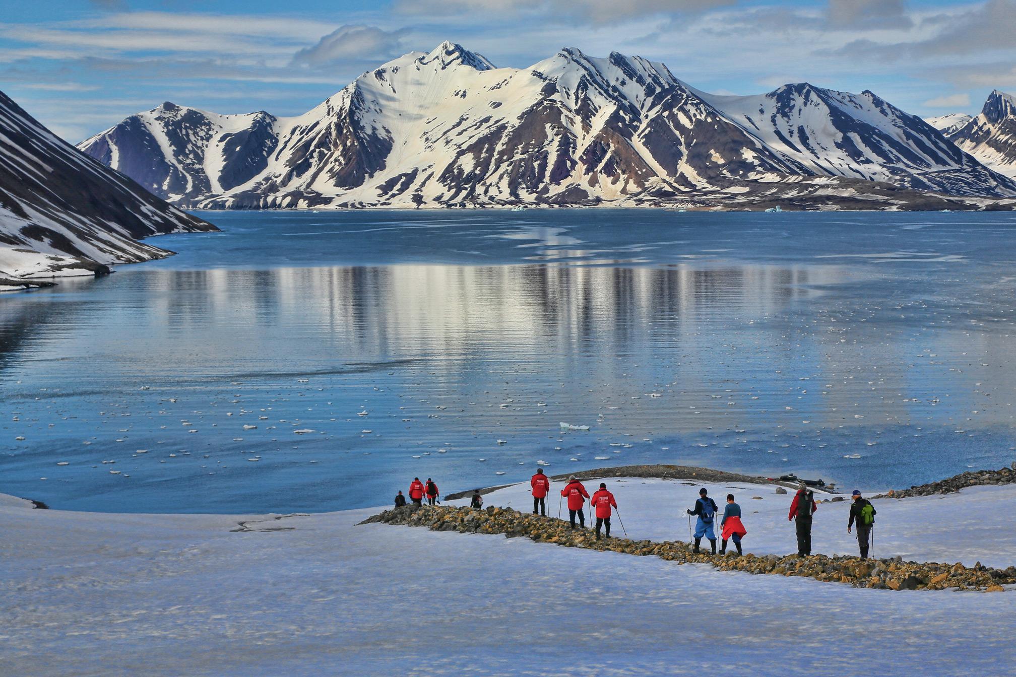 Walking down a medial moraine in Kongsfjord.