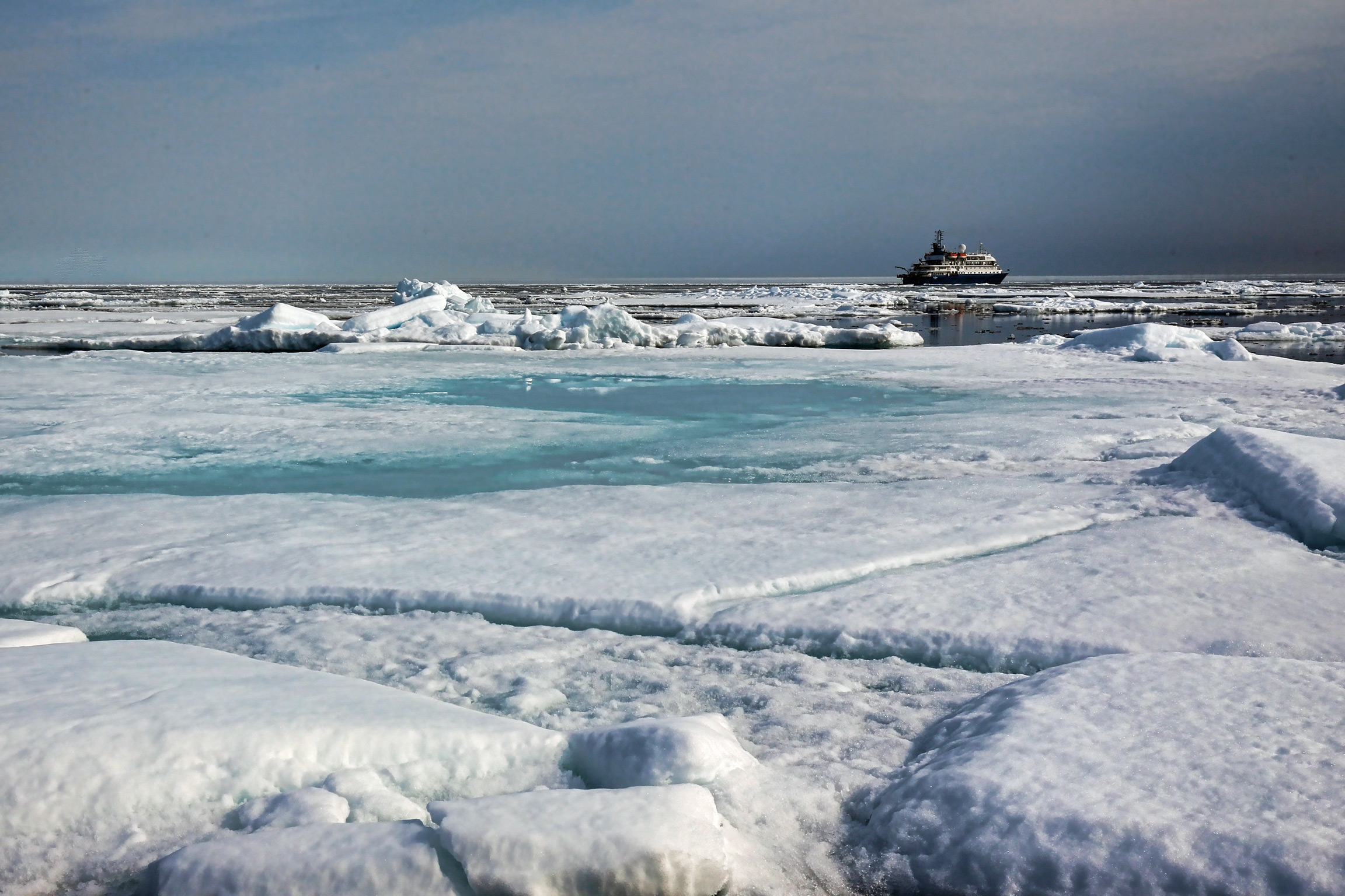 Exploring the edge of sea ice, approximately 81 degrees north latitude.