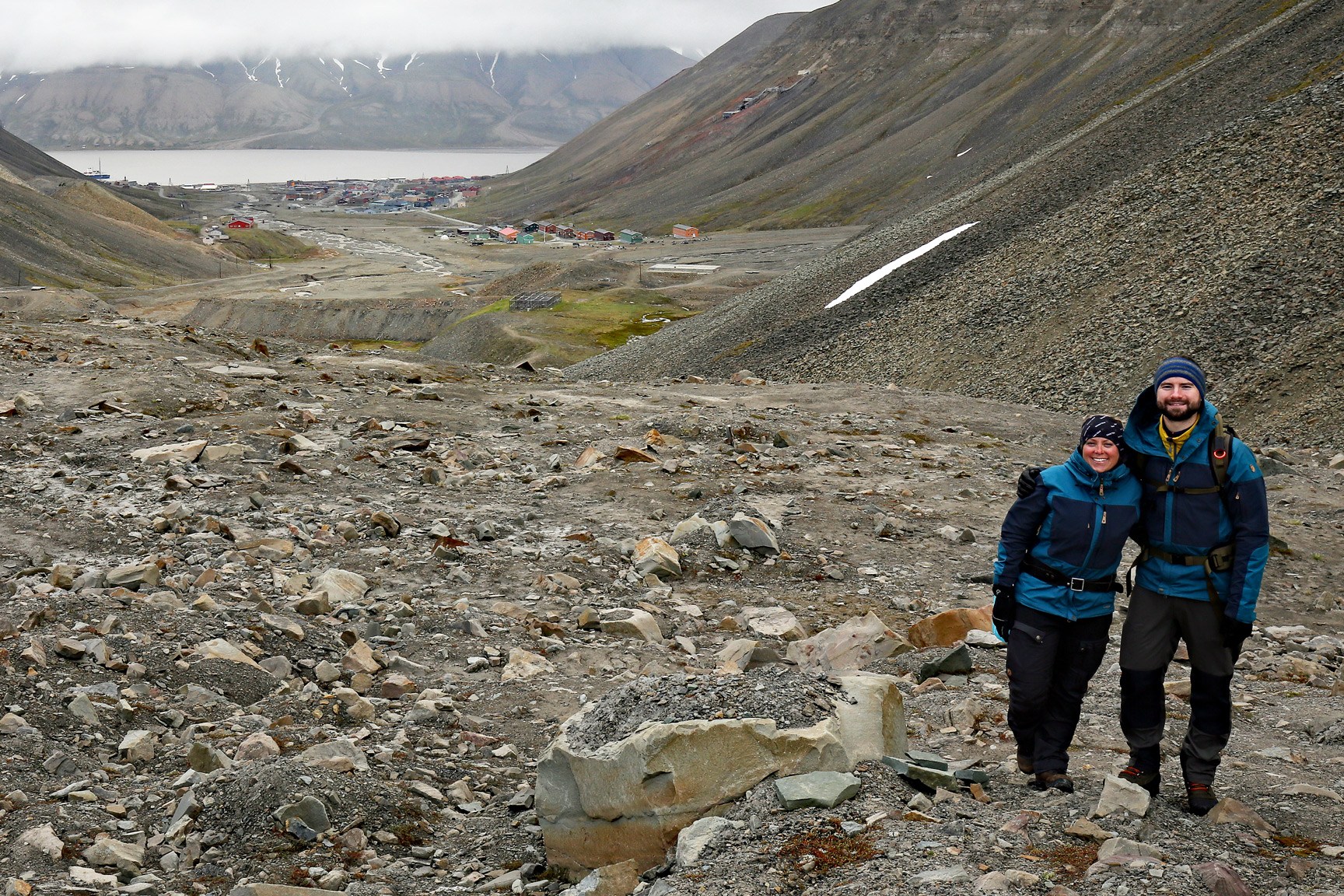 Searching the glacial moraine with Ida and Ryan for Paleocene plant fossils.