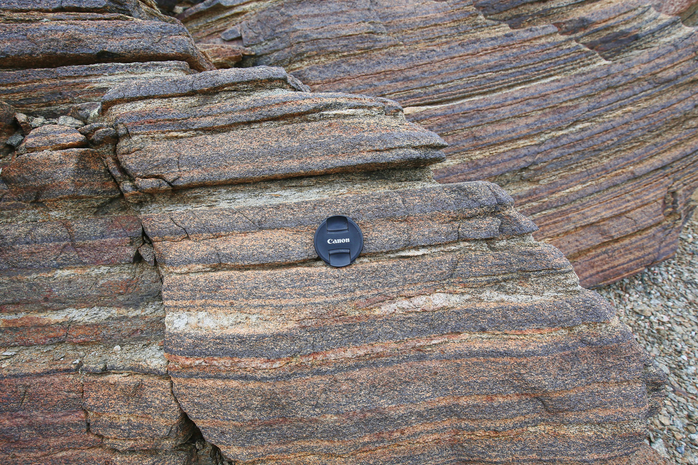 """Close up of """"sedimentary"""" beds of mafic crystals that settled from suspension in a cooling magma chamber, 55 Ma."""