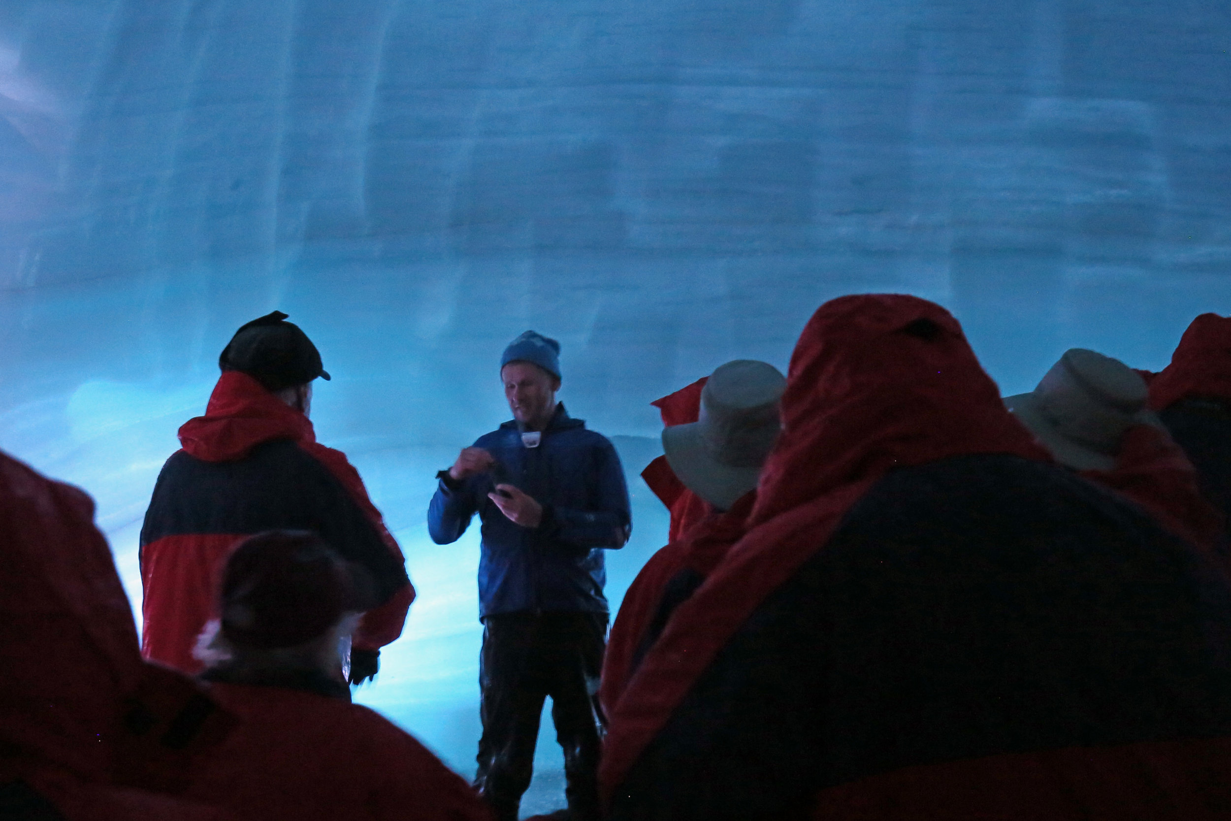 Exploring the excavated ice tunnel within Langjokull glacier.