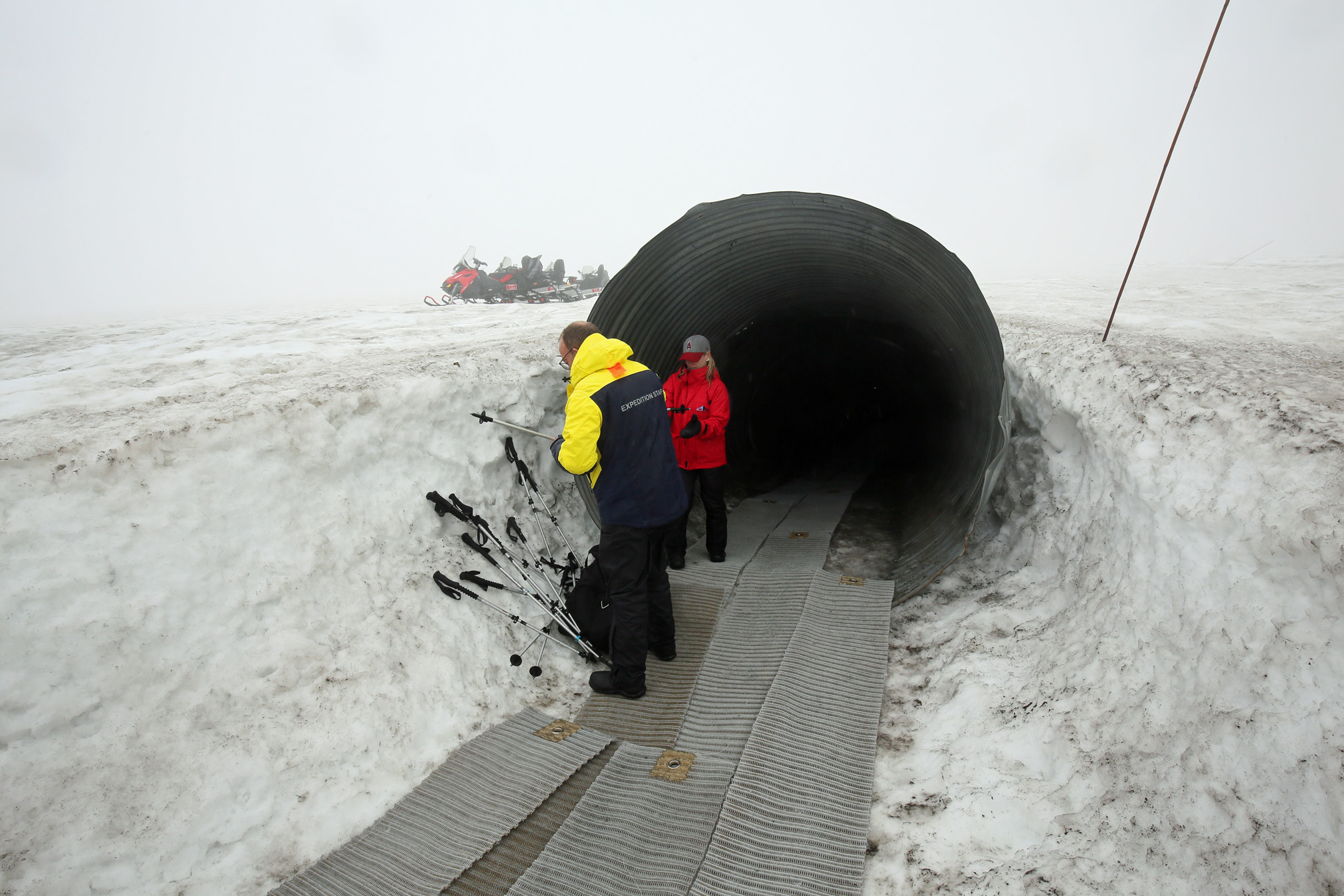 Entrance to sub-glacial ice tunnel on Langjokull glacier, Iceland.