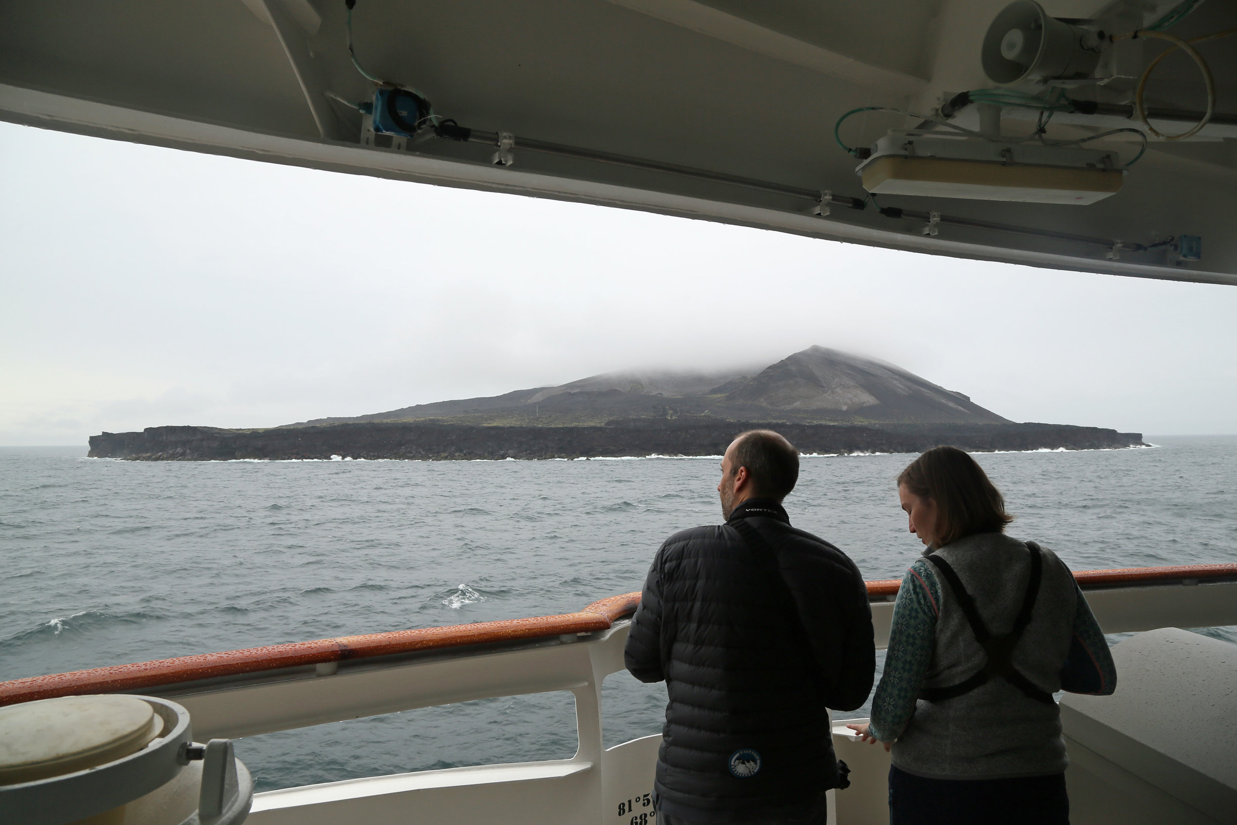 View of Surtsey (erupted in 1963) from the bridge.