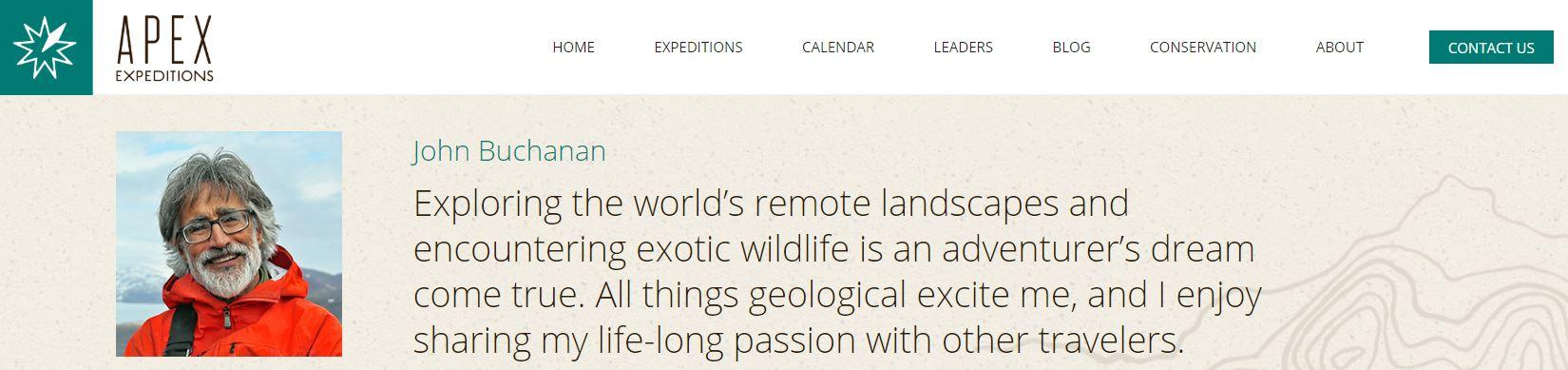 Here's the link:   https://www.apex-expeditions.com/leaders/john-buchanan/