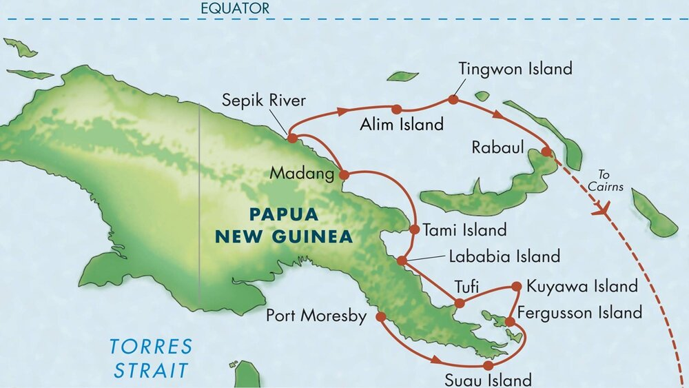 Voyage map: Port Moresby to Rabaul.